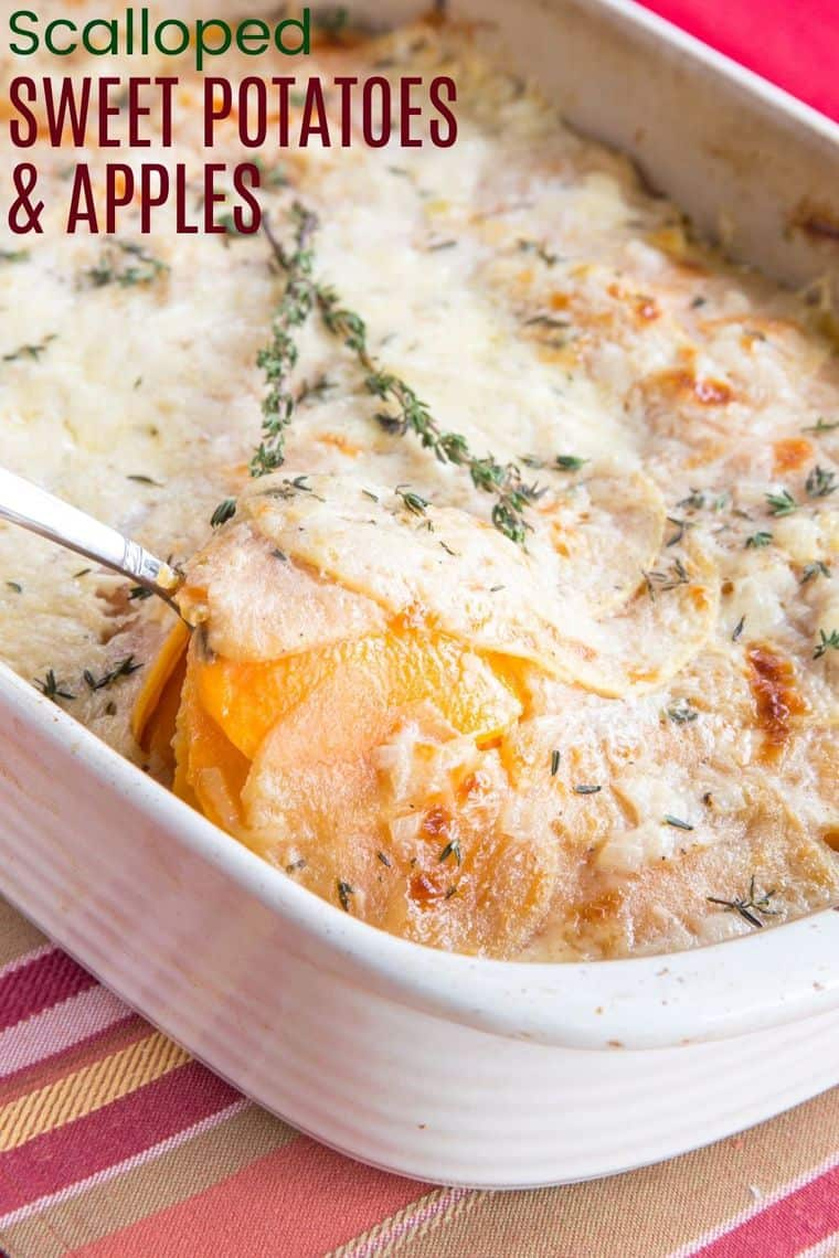 Scalloped Sweet Potatoes and Apples recipe image with title