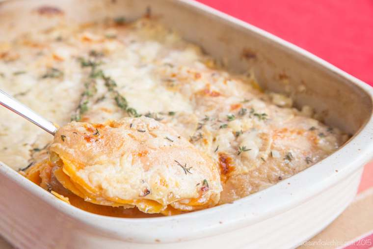 Scooping up cheesy sweet potato casserole