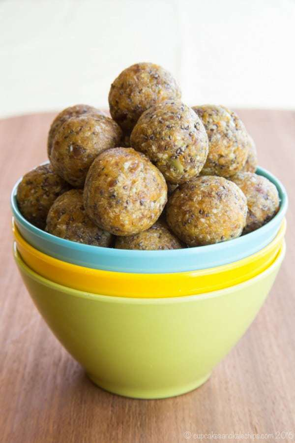 Apricot Coconut Energy Balls - a quick and easy healthy snack recipe perfect for grabbing on-the-go or packing in a lunchbox. They're gluten free, grain free, nut free, dairy free, and vegan!   cupcakesandkalechips.com