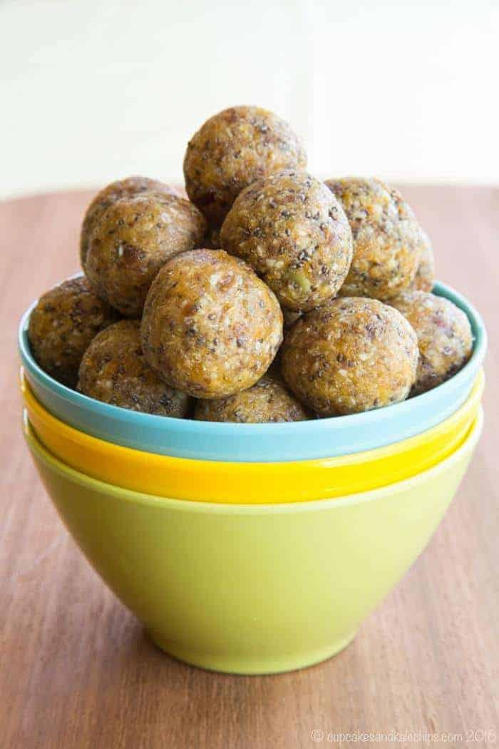 A bowl of Apricot Chia Energy Balls