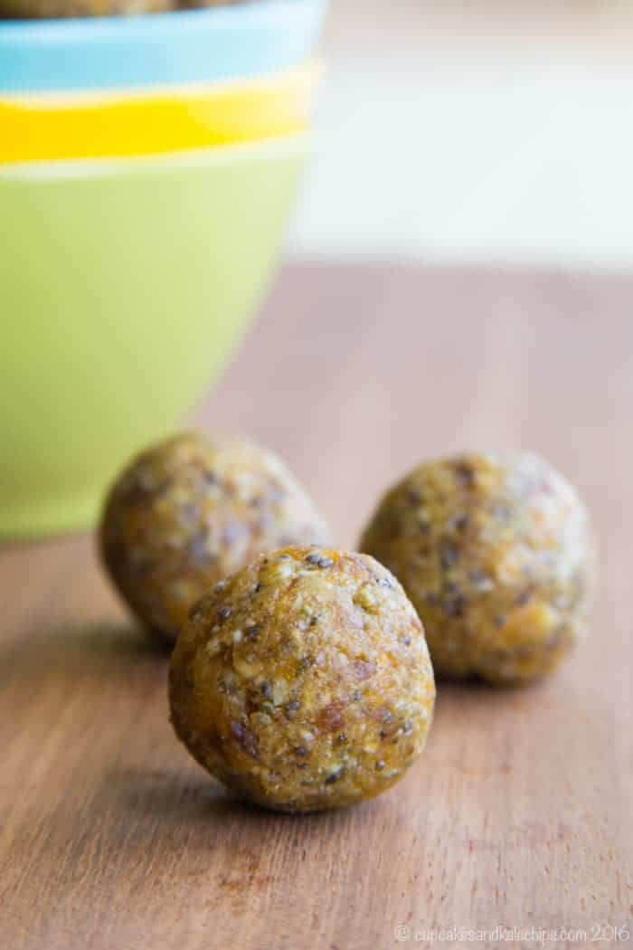 No-Bake Apricot Energy Balls made with chia seeds and coconut
