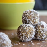 A stack of Apricot Coconut Energy Balls