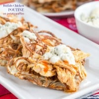 Buffalo Chicken Poutine recipe Potato Waffles new-5163 title