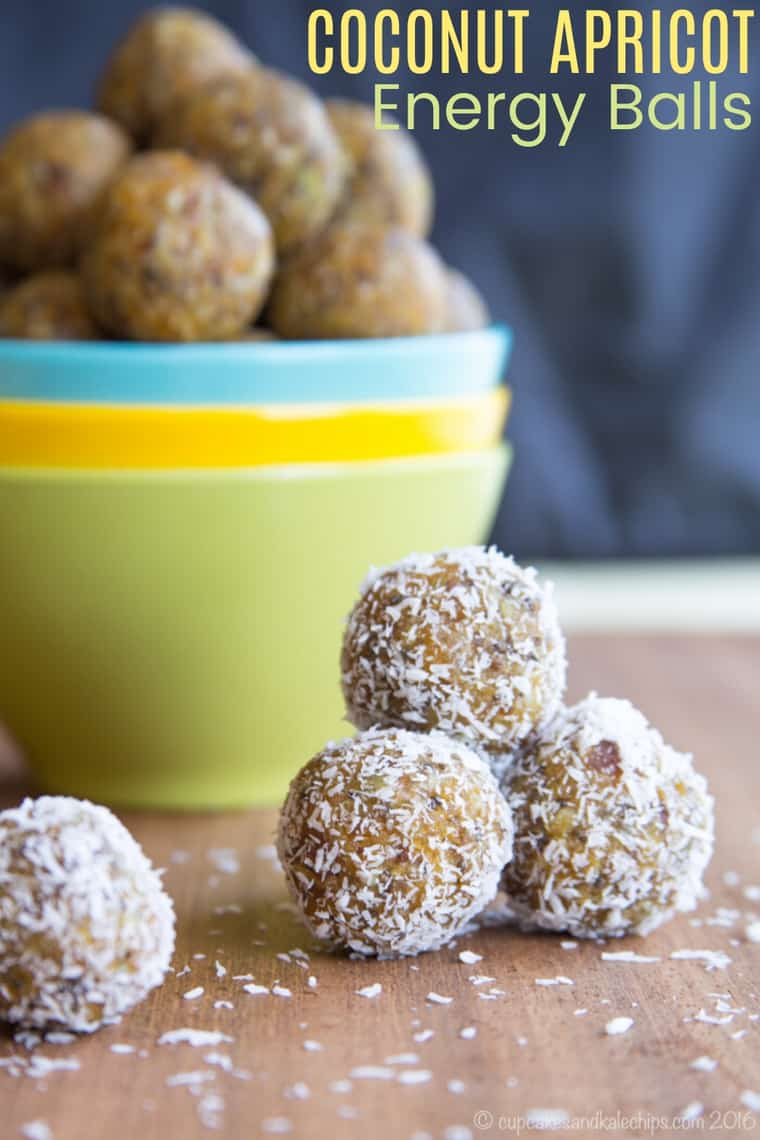 Coconut Apricot Energy Balls Recipe Image with title