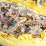 Beef Stroganoff with Mushrooms inside a spaghetti squash boat
