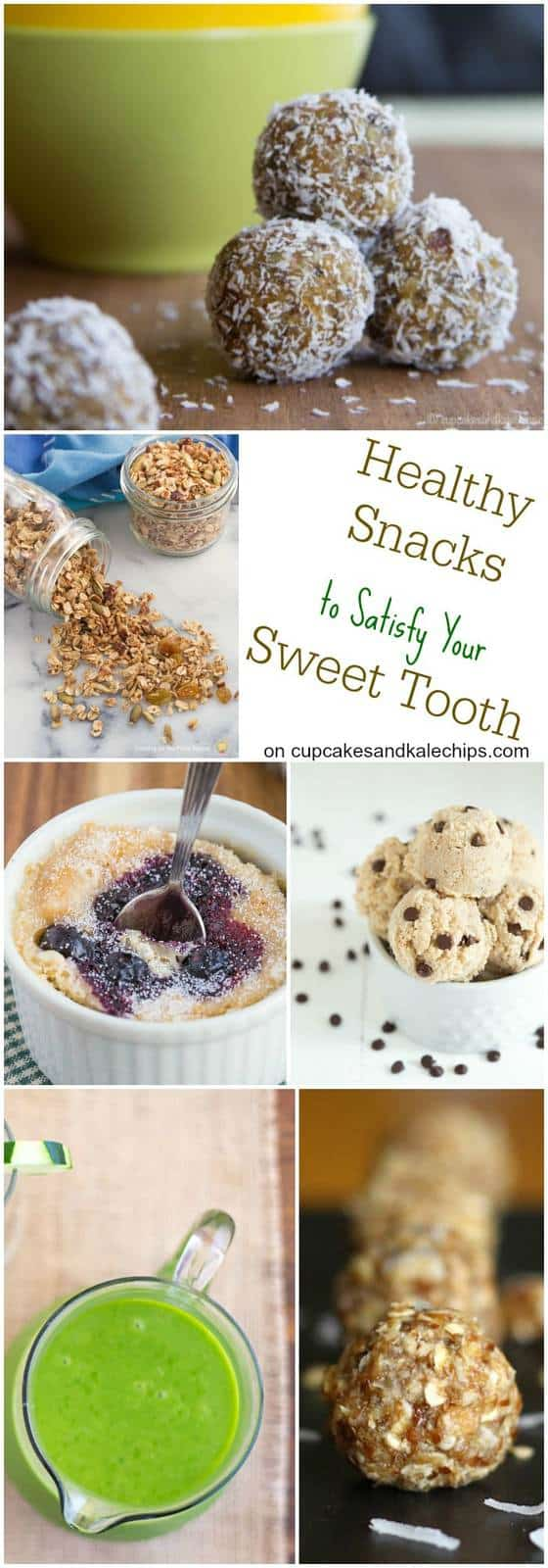 25 Healthy Snacks to Satisfy Your Sweet Tooth - snack recipes for when you are craving sweets but want to keep your healthy eating habits on track. Plenty of gluten free and vegan options too! | cupcakesandkalechips.com