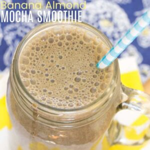 Banana Almond Mocha Smoothie square featured image with title