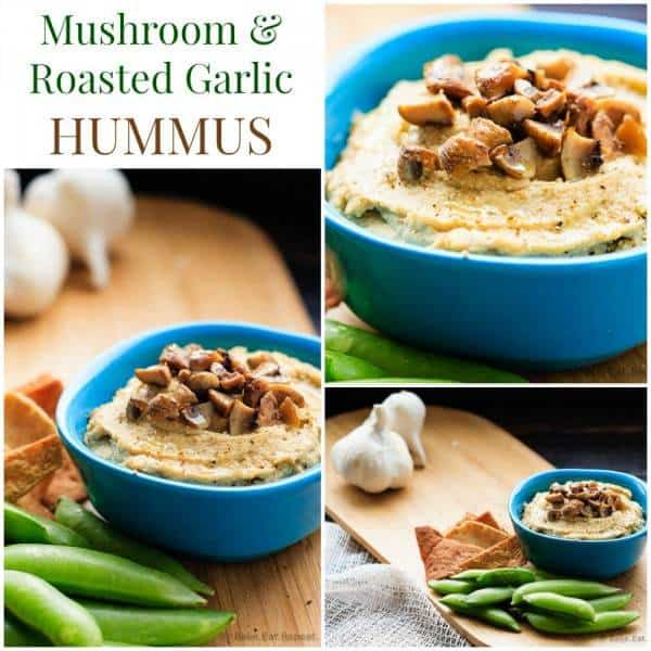 Mushroom Roasted Garlic Hummus Collage Mushroom and Roasted Garlic Hummus - everyone's favorite healthy dip recipe gets a flavor-packed makeover. | cupcakesandkalechips.com | gluten free, vegan