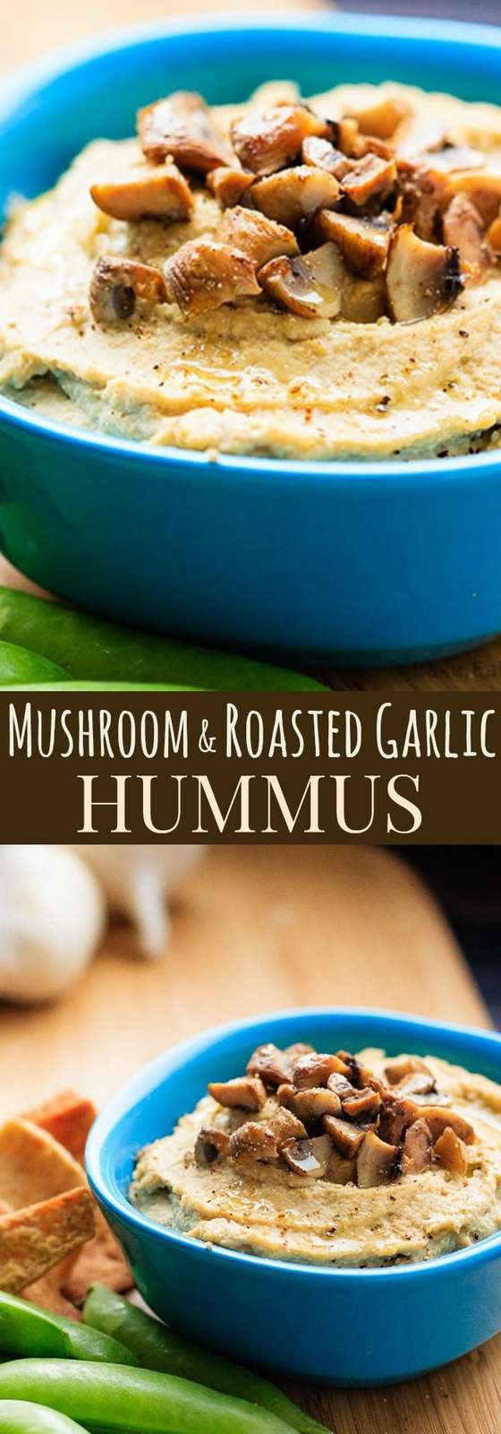 Mushroom and Roasted Garlic Hummus - everyone's favorite healthy dip recipe gets a flavor-packed makeover. | cupcakesandkalechips.com | gluten free, vegan