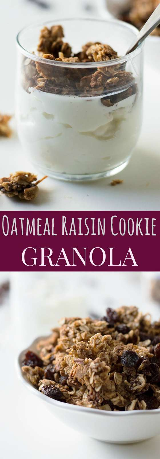 Oatmeal Raisin Cookie Granola - satisfy your sweet tooth with a healthy snack that tastes just like oatmeal raisin cookies. Gluten free and vegan recipe options. | cupcakesandkalechips.com