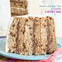 Banana Chocolate Chip Nutella Layer Cake gluten free recipe-1490 title