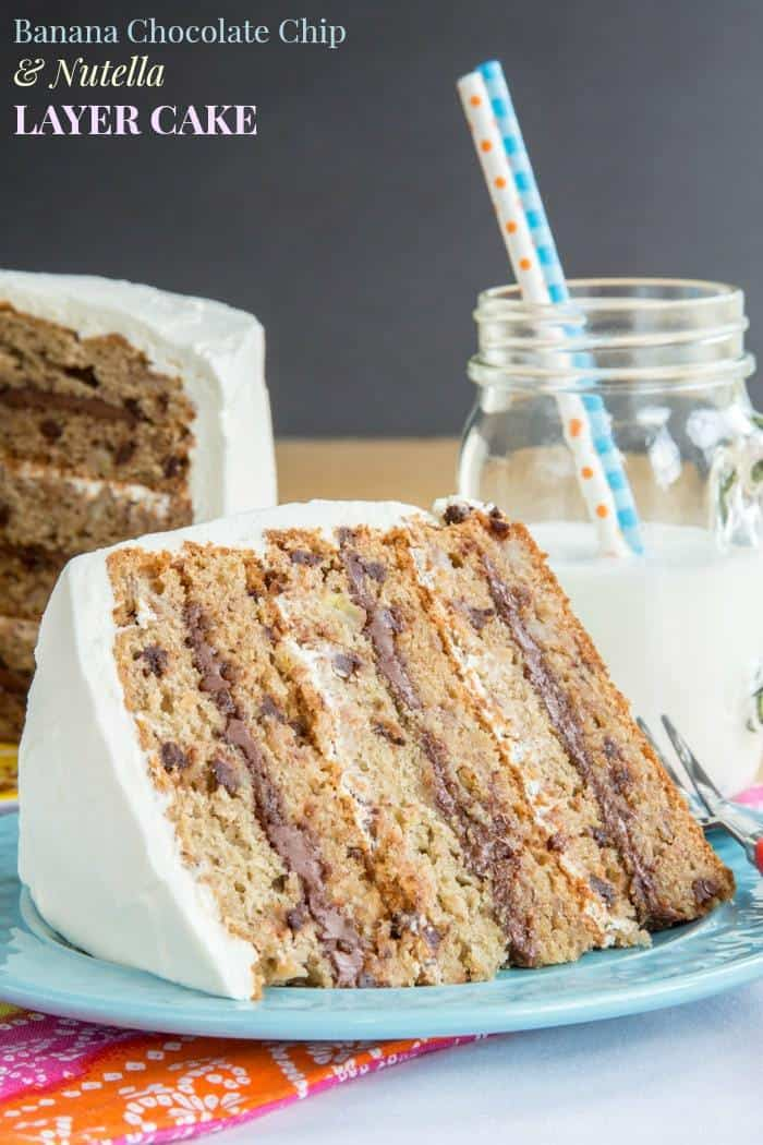 Banana Chocolate Chip And Nutella Layer Cake