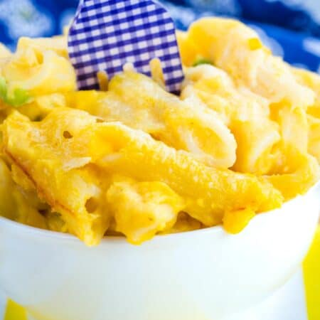 A close up of butternut squash mac and cheese.
