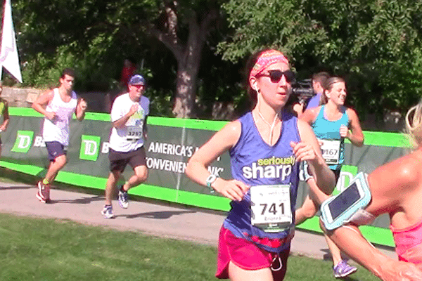 runners reaching the finish line of a race
