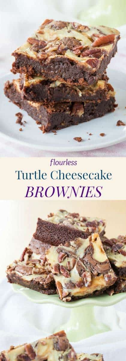 Flourless Turtle Cheesecake Brownies - this fudgy, naturally gluten free brownie recipe will satisfy chocolate, cheesecake, and caramel cravings in one bite, all topped with crunchy pecans.
