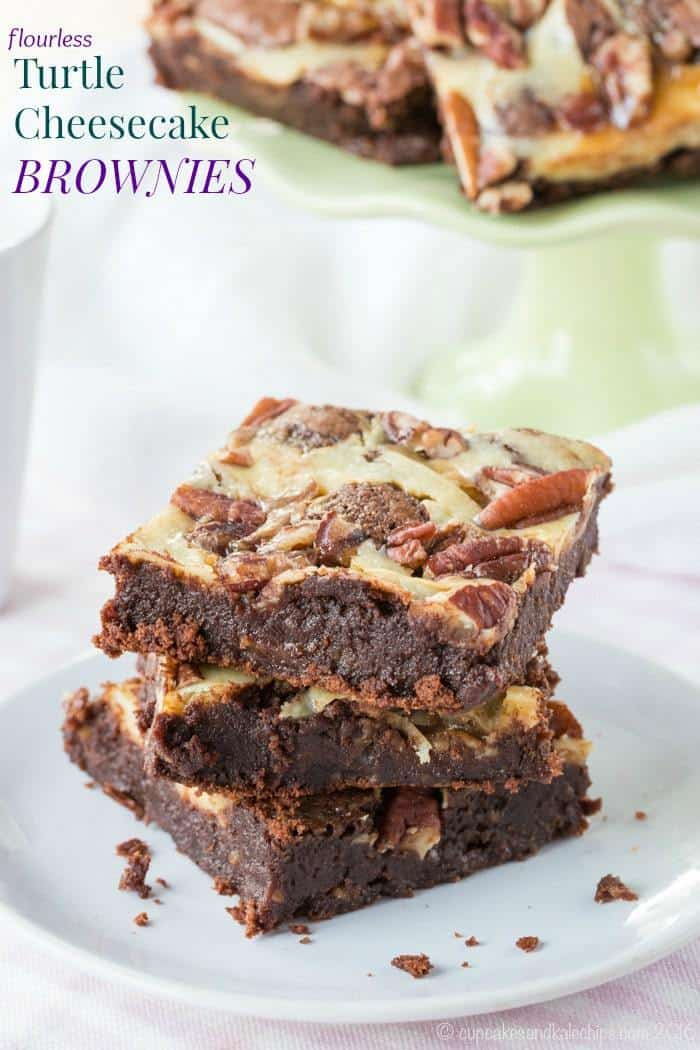 Flourless Turtle Cheesecake Brownies - this fudgy brownie recipe combines chocolate, caramel, and pecans with swirls of cheesecake for a rich dessert. #glutenfree #brownies