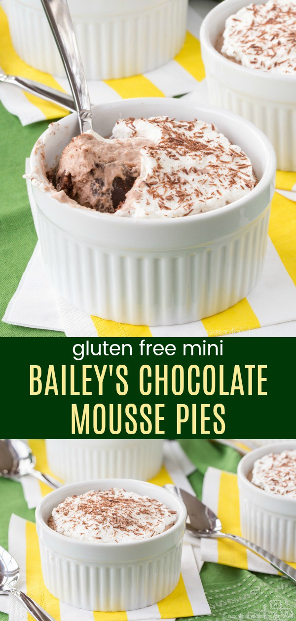 Mini Bailey's Chocolate Mousse Pies - light and fluffy individual Irish Cream pies with a simple gluten free almond meal crust. This decadent boozy dessert recipe is perfect for St. Patrick's Day or any special occasion. #baileys #chocolatemousse #pie #glutenfree