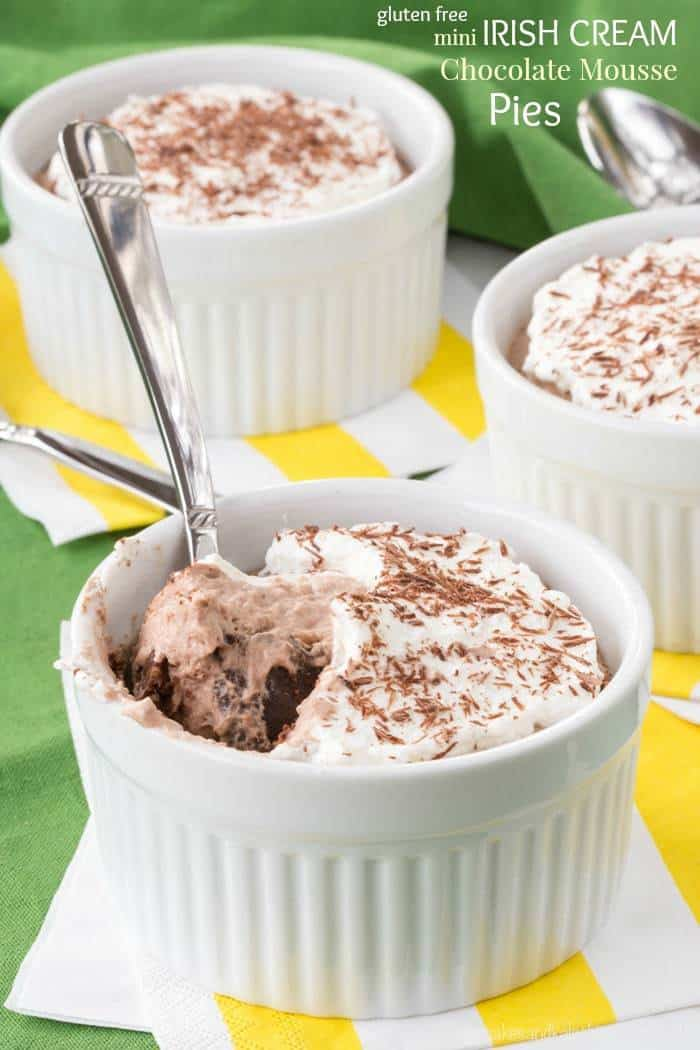 Mini Irish Cream Chocolate Mousse Pies - a decadent single-serving pie ...