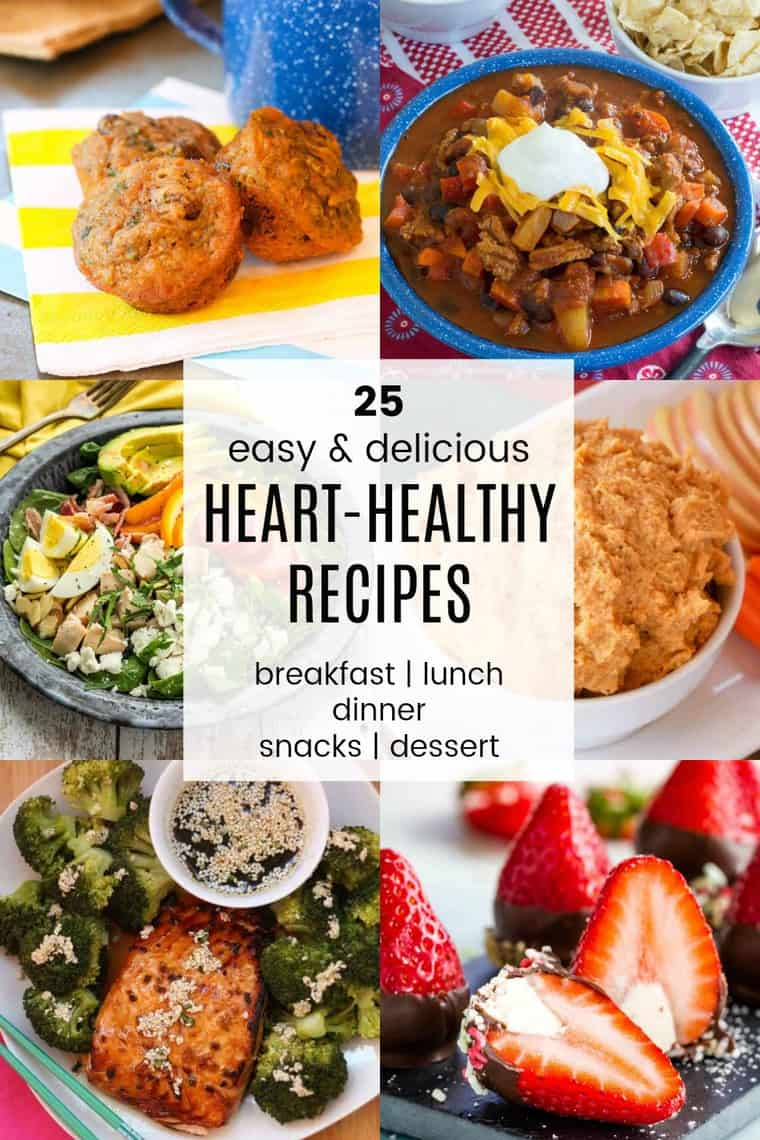 Collage of images of heart healthy meals