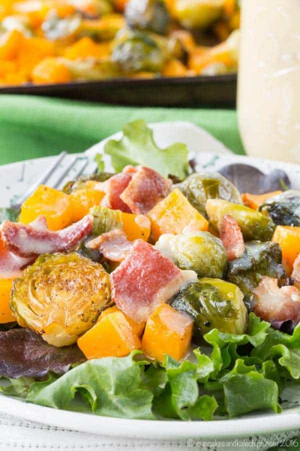 Roasted Brussels Sprouts Butternut Squash Salad with Hot ...