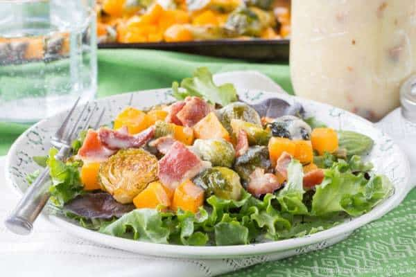 Roasted Brussels Sprouts and Butternut Squash Salad with Hot Bacon Dressing - a salad recipe that will have you craving your leafy greens even in the winter! | cupcakesandkalechips.com | gluten free, paleo option