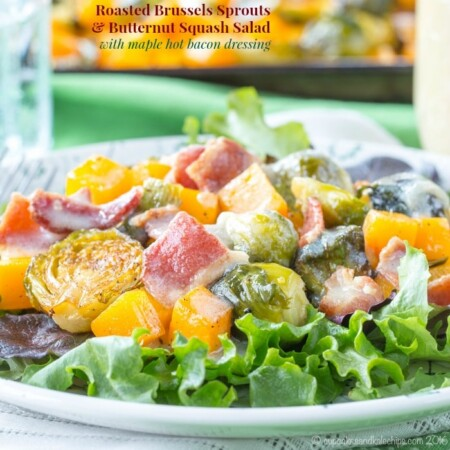 Roasted Brussels Sprouts Butternut Squash Salad with Hot Bacon Dressing
