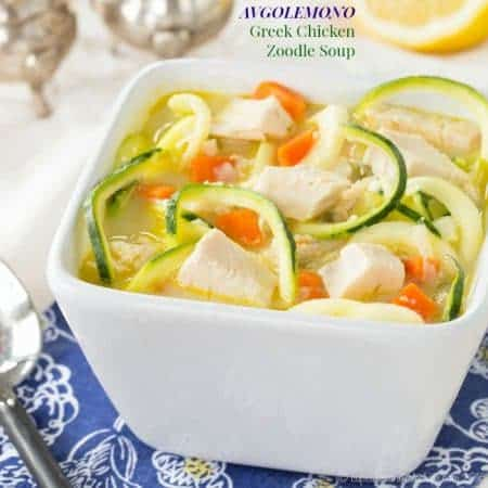 Avgolemono Greek Chicken Zoodle Soup