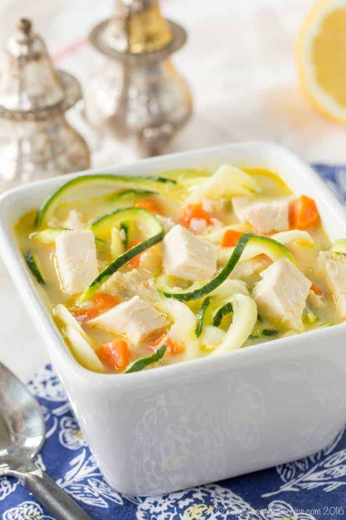 Greek Avgolemono Chicken Zoodle Soup