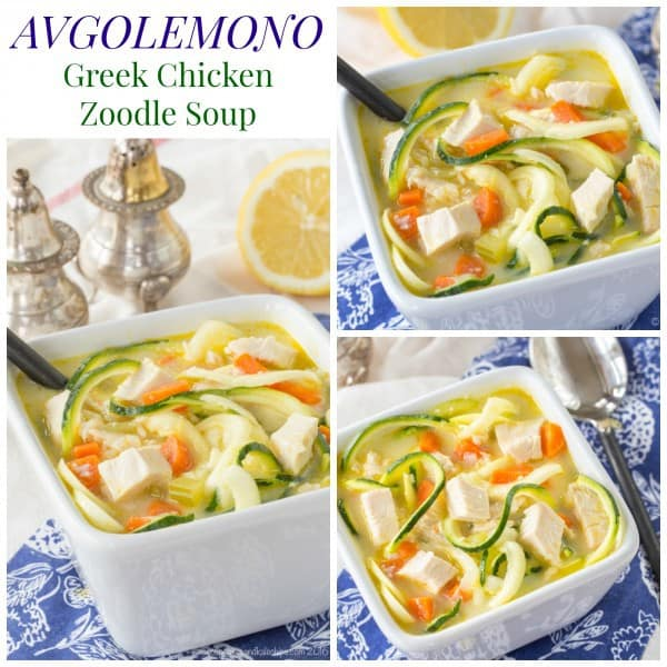 Avgolemono Greek Chicken Zoodle Soup - a veggie-packed lighter version of the classic Greek lemon chicken soup recipe with zoodles instead of rice. Gluten free, grain free, paleo, and low carb. | cupcakesandkalechips.com