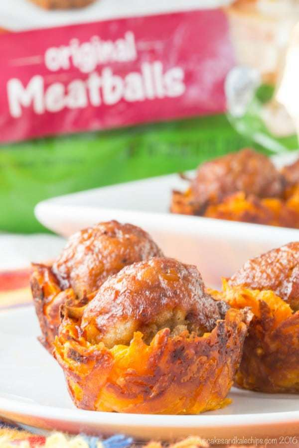 Barbecue Meatball Cheesy Sweet Potato Bites - a fun and easy appetizer recipe or game day snack that the whole family will love! #ad | cupcakesandkalechips.com