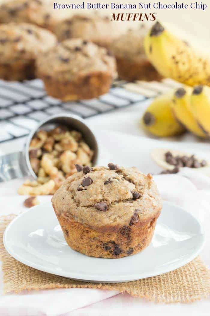 Browned Butter Banana Nut Chocolate Chip Muffins - rich flavors plus the wholesome goodness of whole wheat, Greek yogurt and flax seeds make this muffin recipe a healthy and delicious breakfast or snack. | cupcakesandkalechips.com