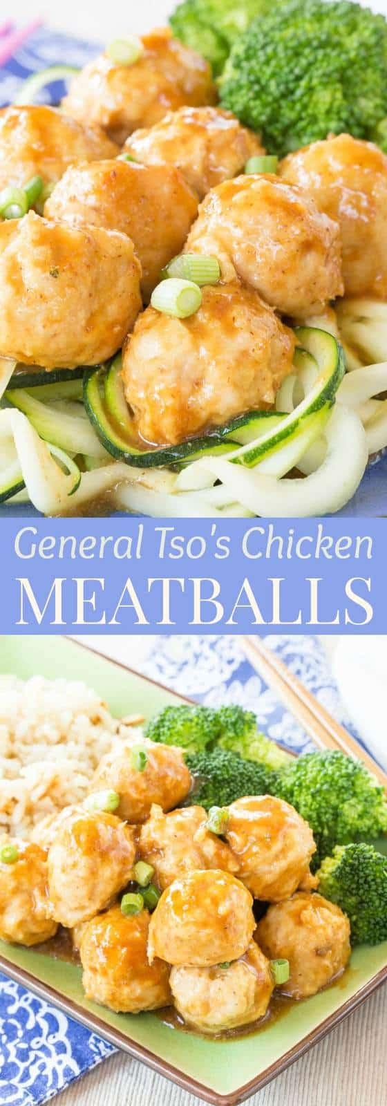 General Tso's Chicken Meatballs recipe from cupcakesandkalechips