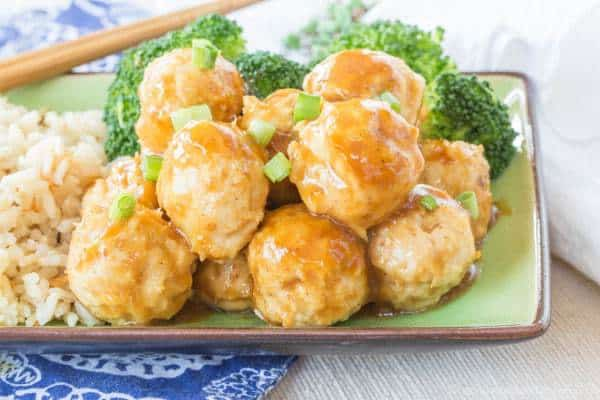 General Tso's Chicken Meatballs from Cupcakes and Kale Chips