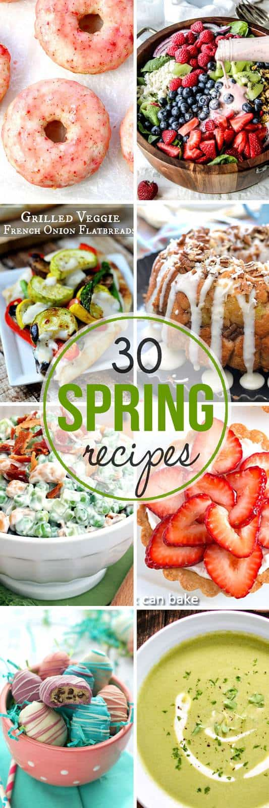 30 Spring Recipes - breakfast or brunch, salad or snacks, dinner or desserts, you'll find it all in this collection with all the flavors, ingredients, and colors of the season! | cupcakesandkalechips.com