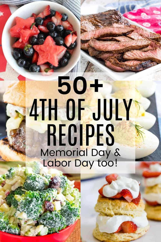 collage of fruit salad, grilled steak, hamburger, deviled eggs, broccoli salad, and strawberry shortcake