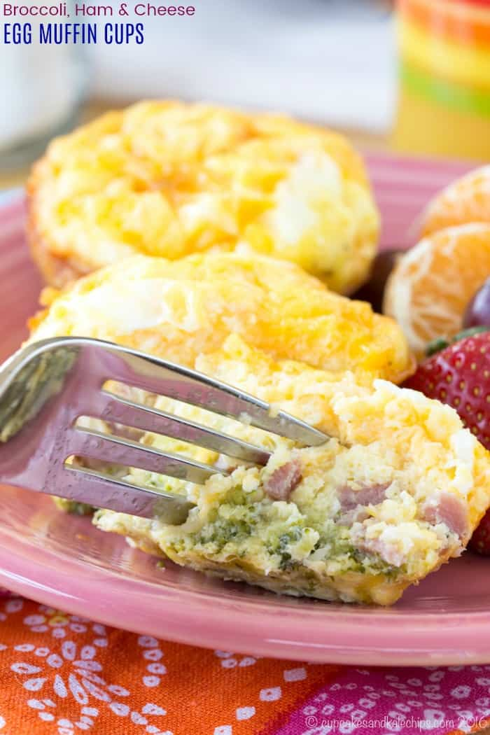 Broccoli Ham and Cheese Egg Muffins Recipe with fork