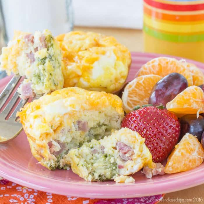 Broccoli, Ham and Cheese Egg Muffins