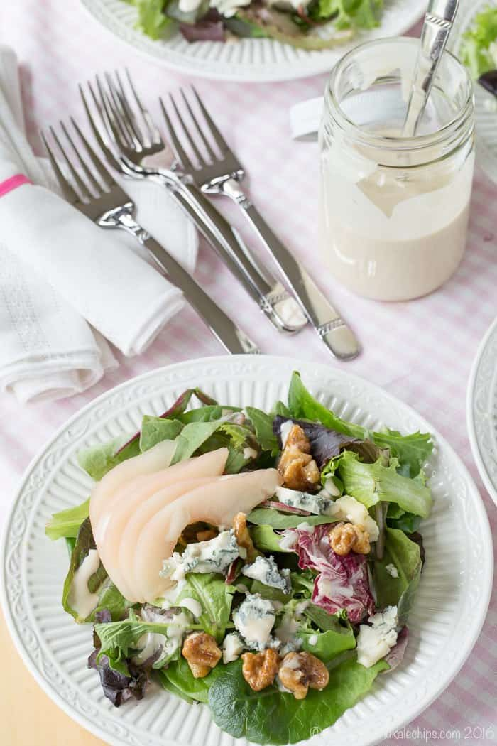 Italian Country Salad with pears and blue cheese drizzled with a creamy dressing