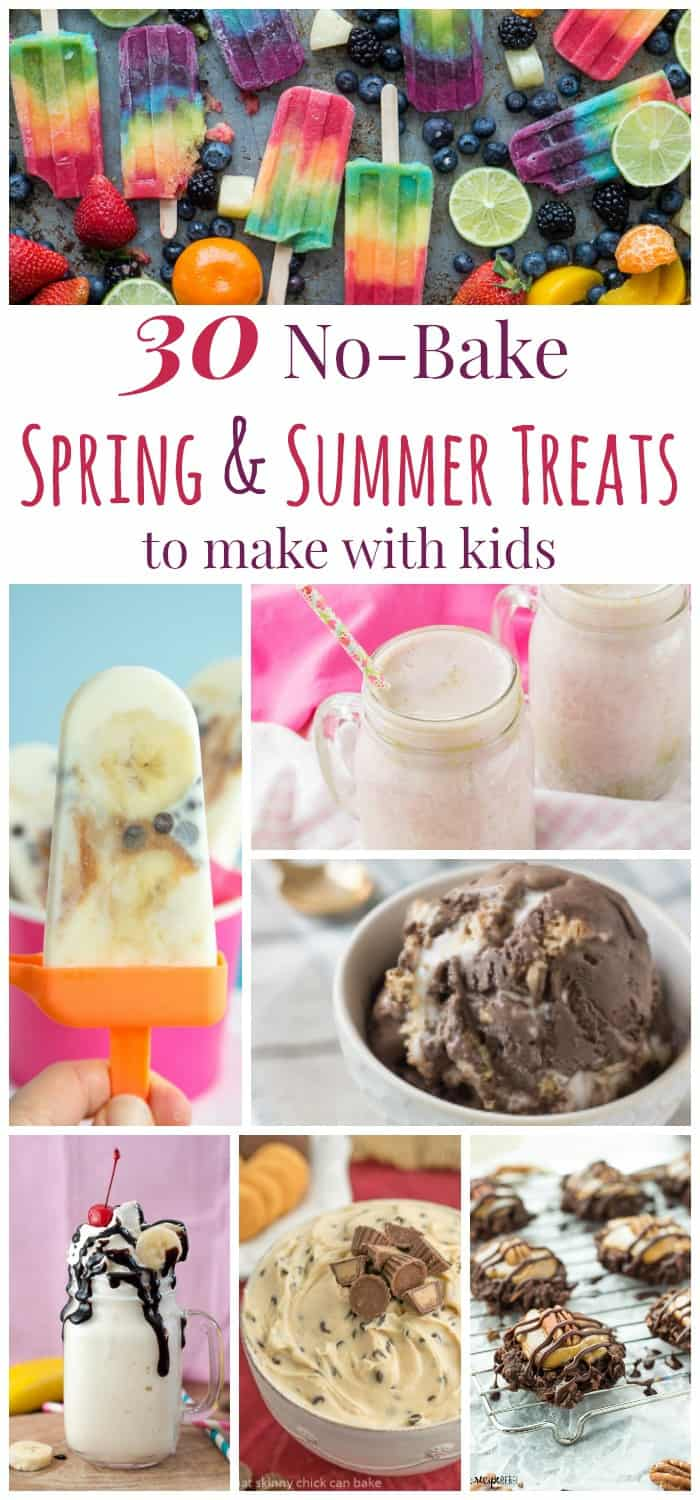 30 No-Bake Spring and Summer Treats to Make with Kids - From ice cream and popsicles to dessert dips and no-bake cookies, plus a few smoothies and shakes, keep cool and whip up some favorite warm weather snacks, sweets, and desserts. Some healthy optons too! #ad   cupcakesandkalechips.com