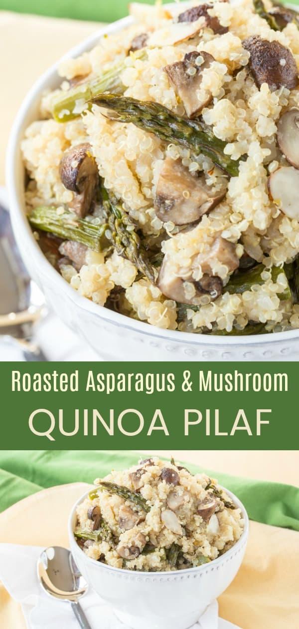 Roasted Asparagus and Mushroom Quinoa Pilaf Recipe Pin collage