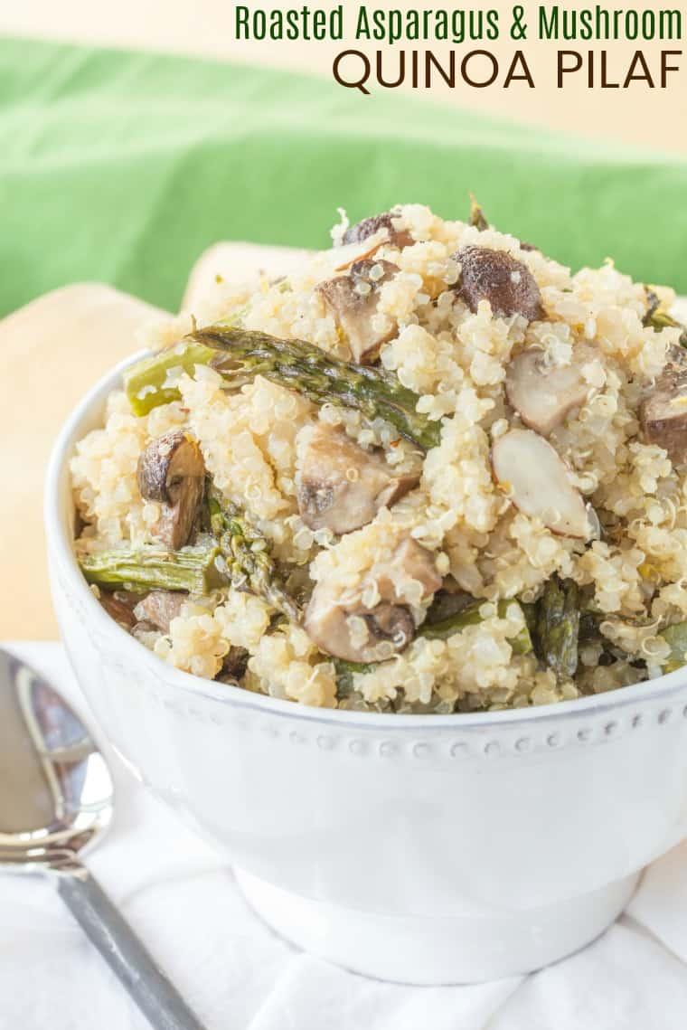 Roasted Asparagus and Mushroom Quinoa Pilaf Recipe image with title