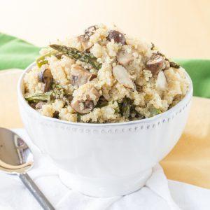 Roasted Asparagus Mushroom Quinoa Pilaf | CupcakesAndKaleChips.com