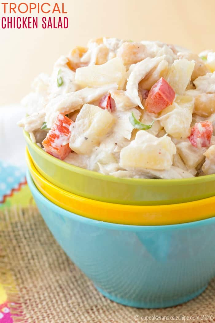 Tropical Chicken Salad - a healthy chicken salad recipe made with Greek yogurt, plus juicy pineapple and crunchy macadamia nuts for fresh, fruity flavor and a bit of crunch. This gluten free, low carb, high protein recipe is a great no-cook dinner or keep it in the fridge for lunches all week to make sandwiches, wraps, lettuce wraps, and salad. #cupcakesandkalechips #chickensalad #chicken #chickenrecipe #glutenfree #lowcarb #greekyogurt #easyrecipe
