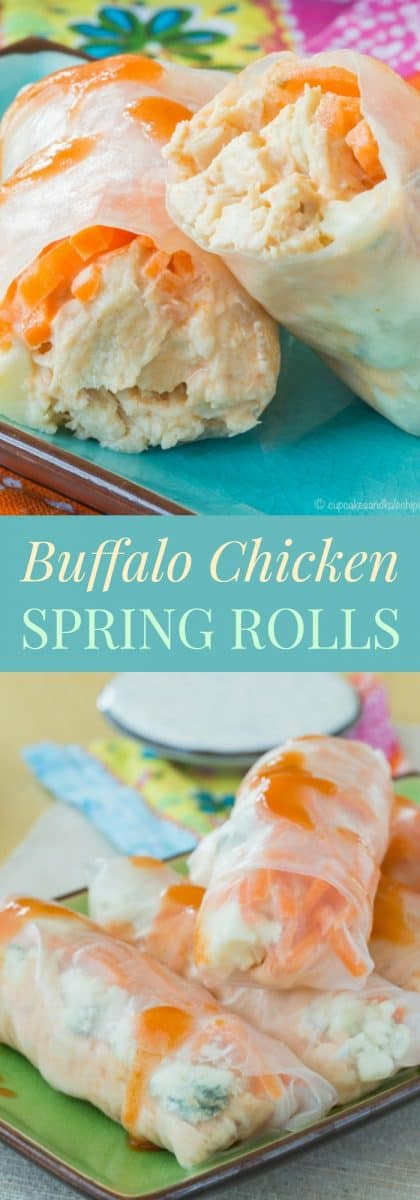 Buffalo Chicken Spring Rolls - a spicy twist on traditional rice paper rolls make a fun appetizer or light dinner recipe. | cupcakesandkalechips.com | gluten free