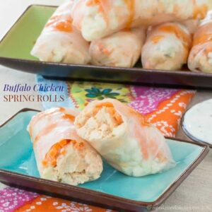 Buffalo Chicken Spring Rolls are the perfect gluten free appetizers to make when you want easy, healthy finger foods with loads of flavor!