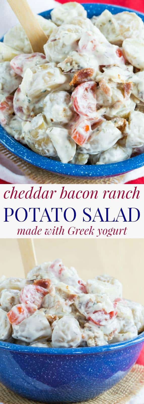 Cheddar Bacon Ranch Potato Salad - a lightened up version of a staple summer side dish made with Greek yogurt and all of your favorite flavors, but no seasoning packets! | cupcakesandkalechips.com | gluten free