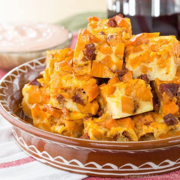 Chorizo and Sweet Potato Spanish Tortilla Bites - a sweet, smoky, spicy twist on the classic Spanish tapas recipe, tortilla Espanola. | cupcakesandkalechips.com | gluten free