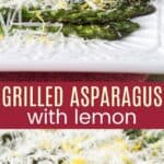 two different angles of grilled asparagus covered in shredded cheese