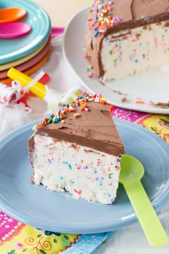 a slice of Funfetti Cake Batter Ice Cream Cake from overhead