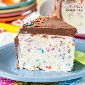 Funfetti no-churn ice cream cake is a kid favorite dessert, made with an easy no-churn ice cream recipe!